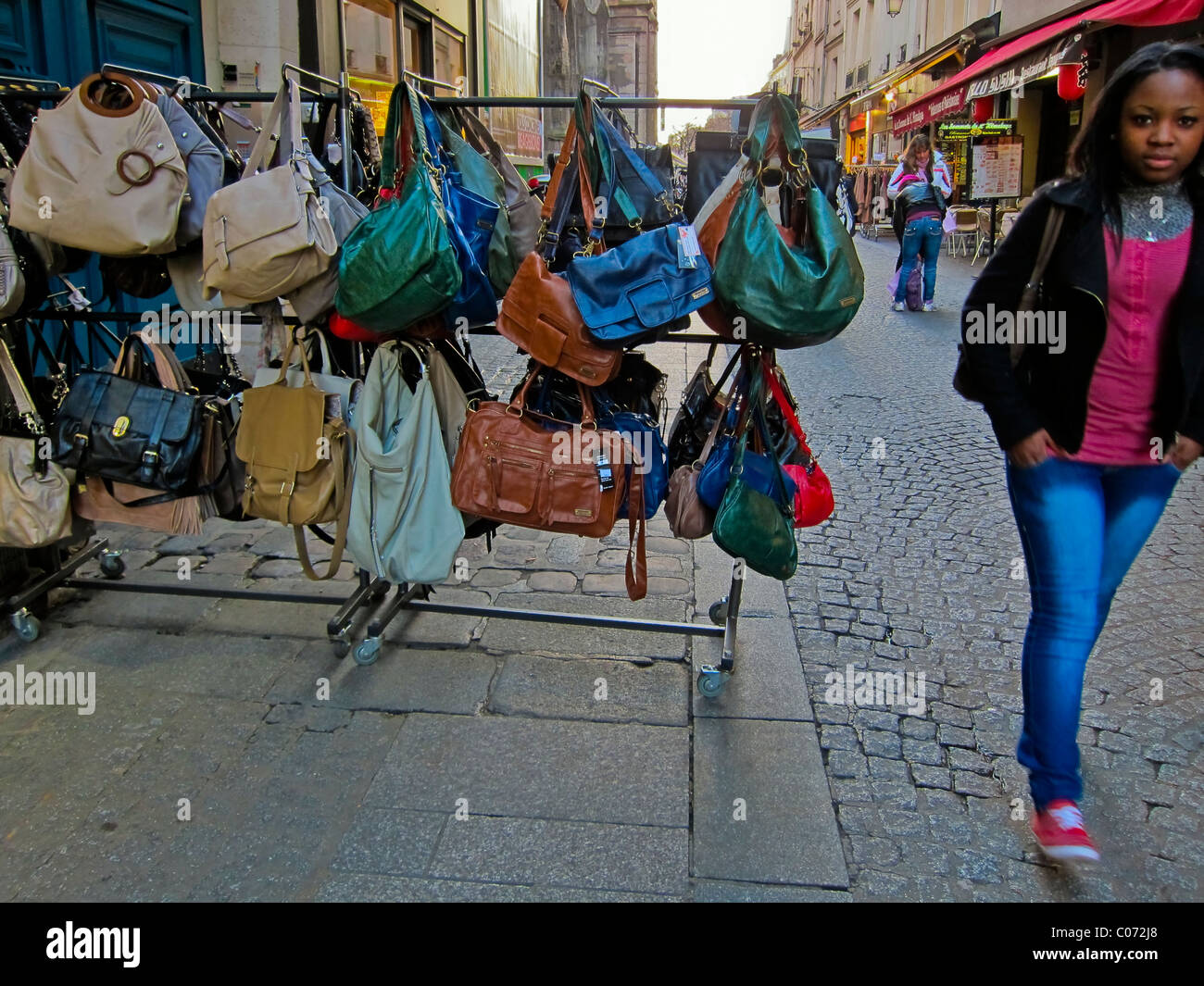 Paris, France, French Fashion Store, Display 'Rain-bow'  Hand Bags, Les Halles District - Stock Image