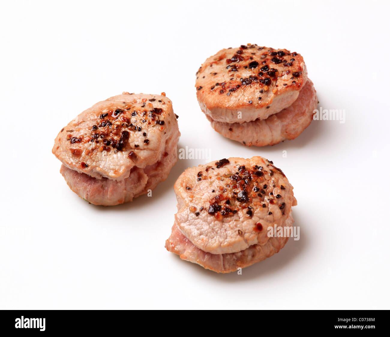 Pan Roasted Pork Tenderloin Medallions Seasoned On Top Stock Photo Alamy