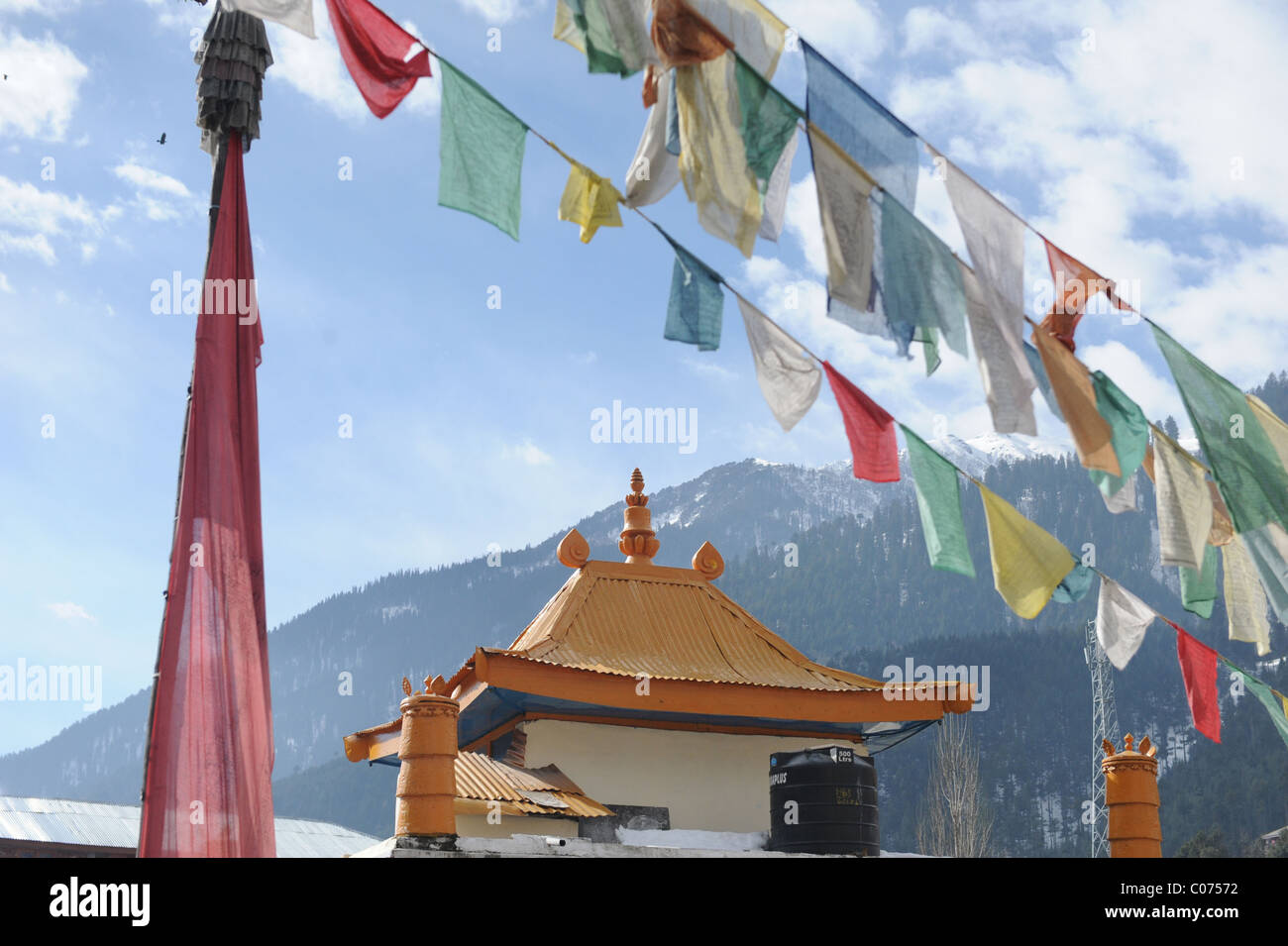 Prayer Flags hung by Templs in Manali India - Stock Image