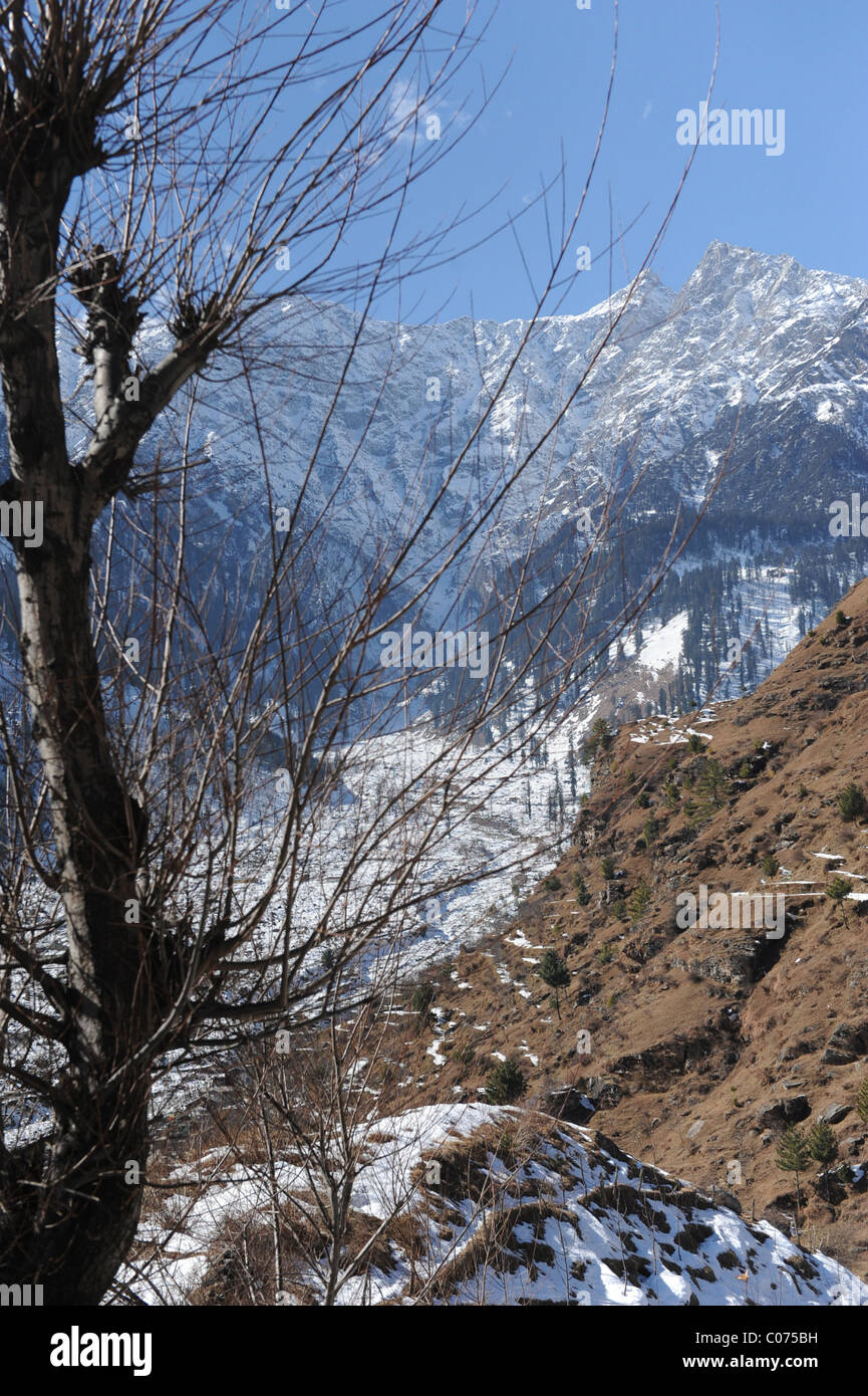Snow Mountains in Manali , India - Stock Image