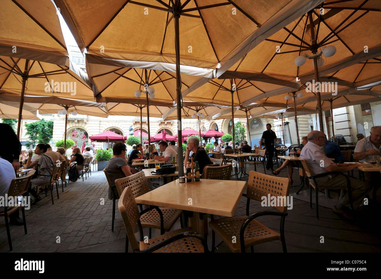 Restaurant tables outdoors Valletta Malta - Stock Image