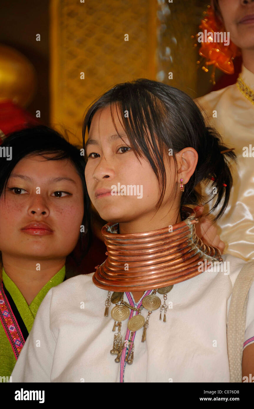 Padaung, long-necked woman with removable brass rings, Myanmar, Burma, Southeast Asia, Asia Stock Photo