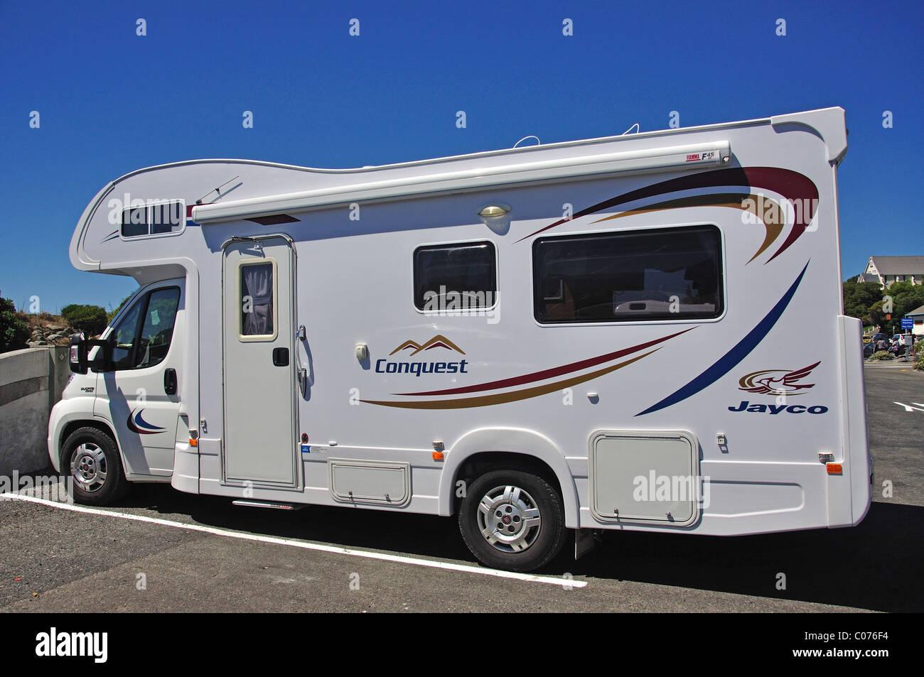 Jayco Conquest Campervan, Esplanade, Kaikoura, Canterbury, South Island, New Zealand Stock Photo