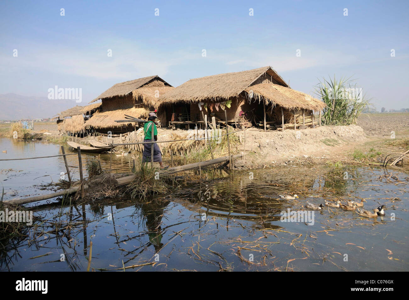 Intha homestead on a canal near Inle Lake, Nyaung Shwe, Shan State, Myanmar, Burma, Southeast Asia - Stock Image