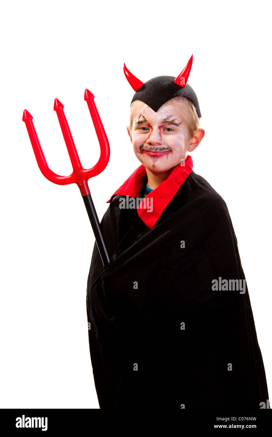 Boy, 6 years old, dressed up as a devil, with trident - Stock Image