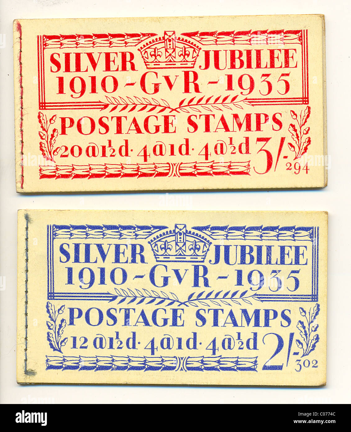 Silver Jubilee postage stamp booklets - Stock Image