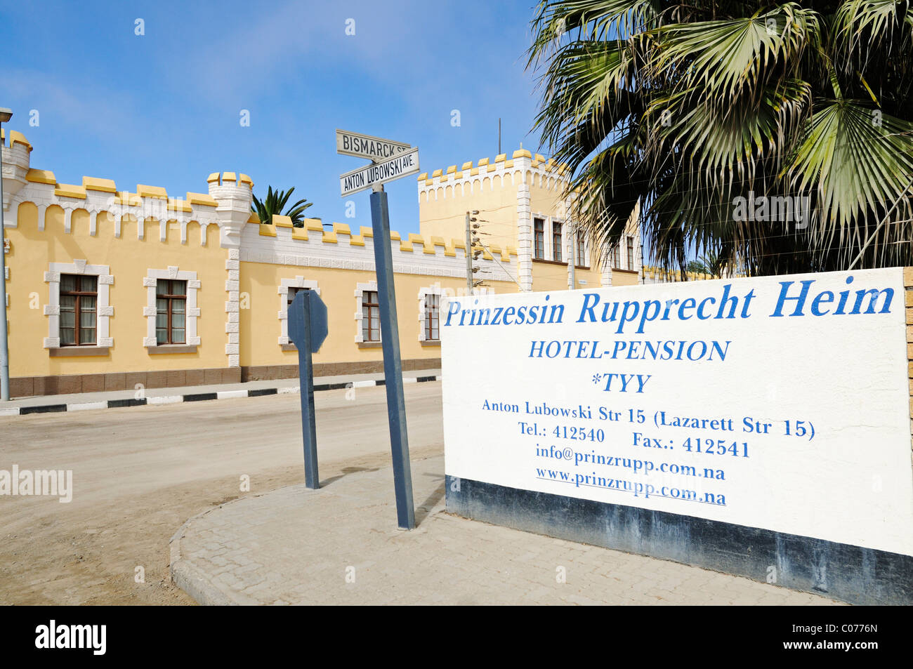 Old barrack and sign Princess Rupprecht Heim, architecture from the German colonial period, now Hostel, Swakopmund - Stock Image