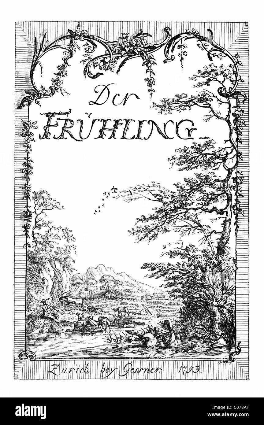 Frontispiece of Kleist's 'Fruehling' or spring, edition of 1753, historic depiction in Deutsche Literaturgeschichte - Stock Image