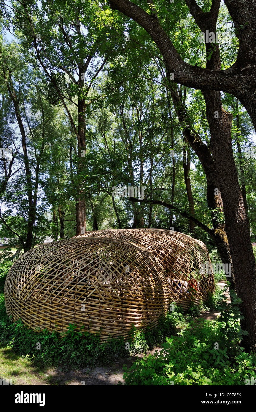 The bamboo house by Johann Bachinger, Country Garden Exhibition in Rosenheim, Bavaria, Germany, Europe - Stock Image