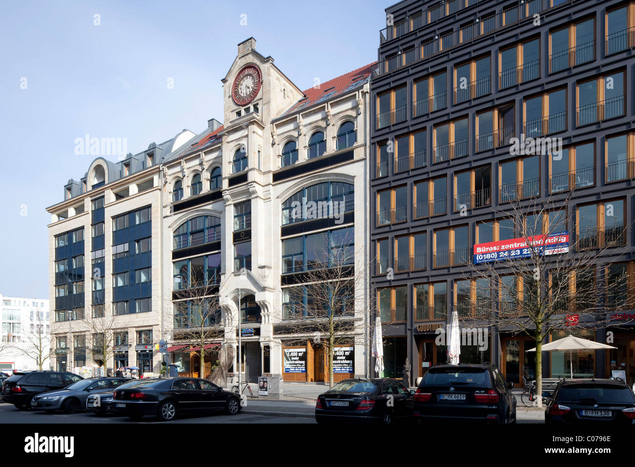 Historical and modern office buildings on Hausvogteiplatz square, Mitte district, Berlin, Germany, Europe - Stock Image