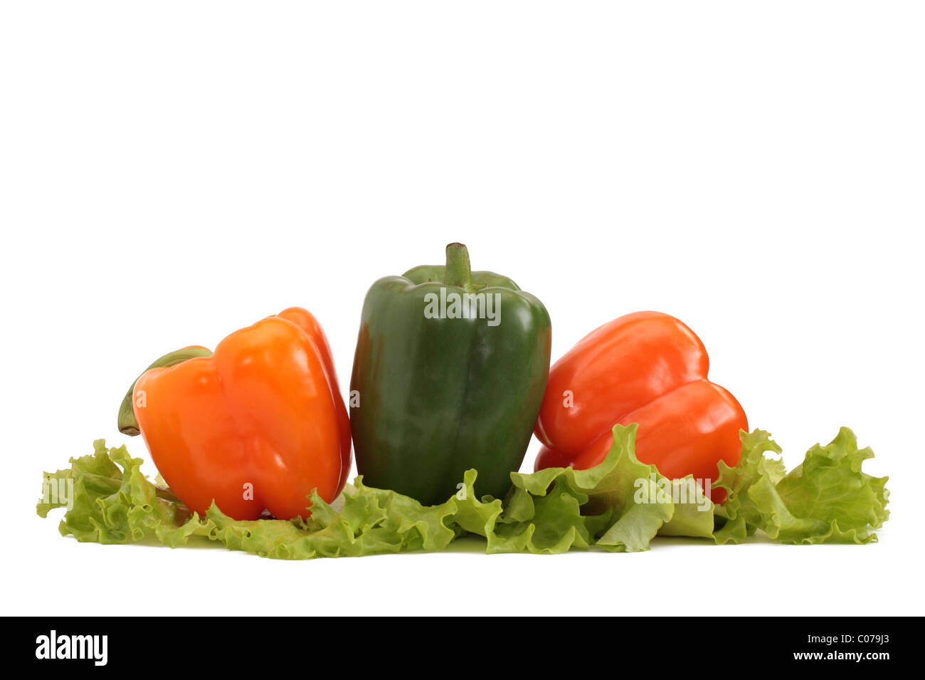 fresh pepper with lettuce isolated on white - Stock Image