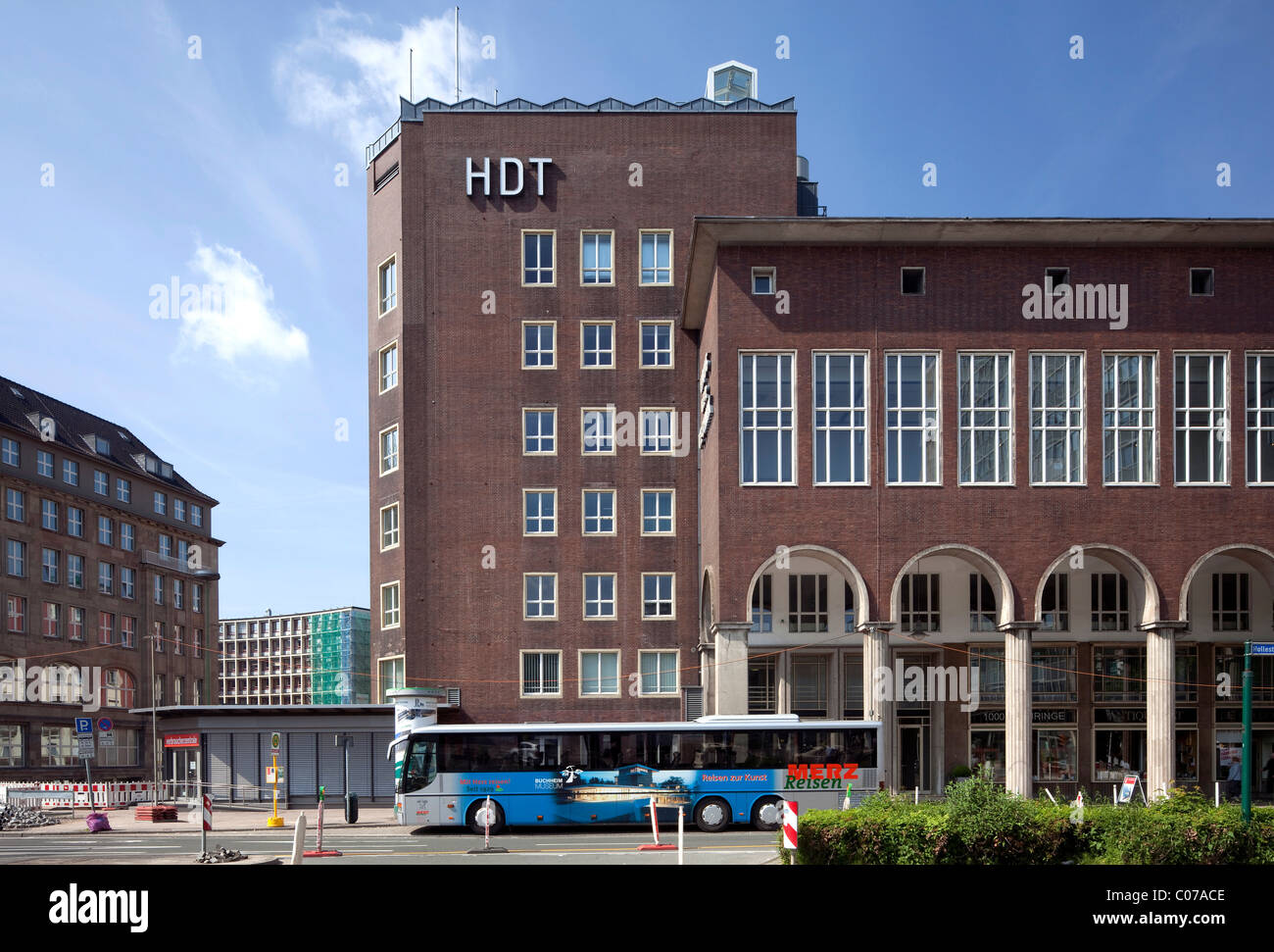 House of Technology or HdT, Institute for Higher Education, expressionism, Essen, Ruhrgebiet region, North Rhine - Stock Image
