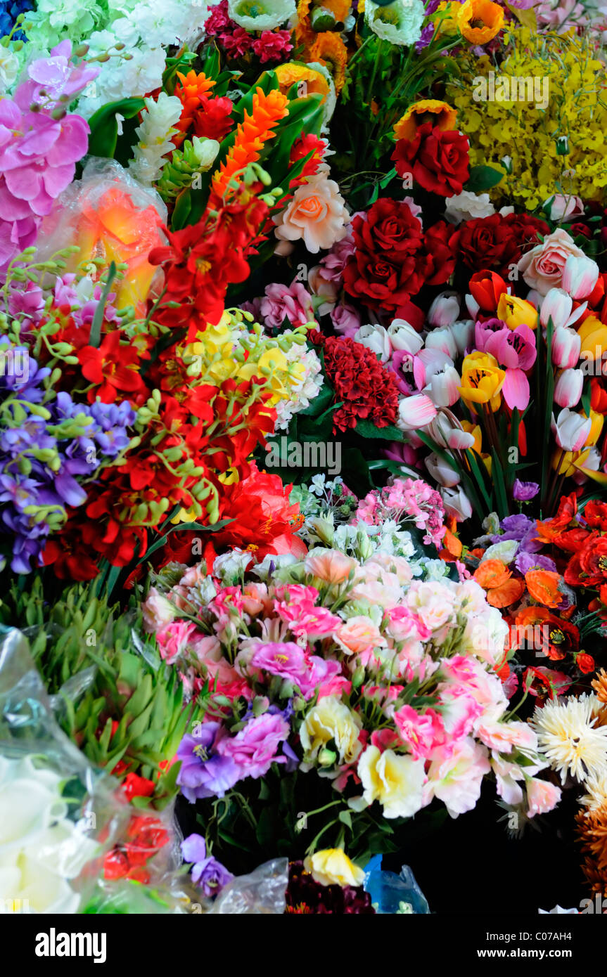 Bunches Of Colorful Colourful Plastic Fake Artificial Flowers Blooms