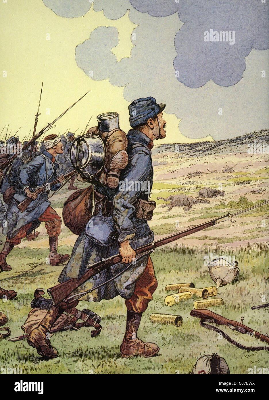 JOB (Jacques Onfroy de Breville) - French illustrator (1858 - 1931) First World War - 1914-1918: French Infantryman - Stock Image
