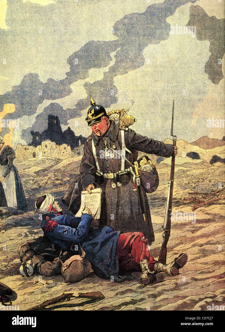 JOB (Jacques Onfroy de Breville) - French illustrator (1858 - 1931) First World War - 1914-1918: The Treaty of Frankfurt - Stock Image