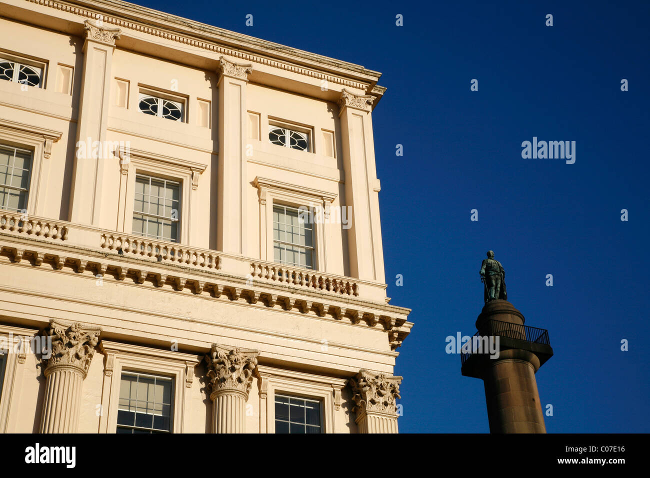View past Carlton House Terrace to the Duke of York column on The Mall, St James's, London, UK - Stock Image