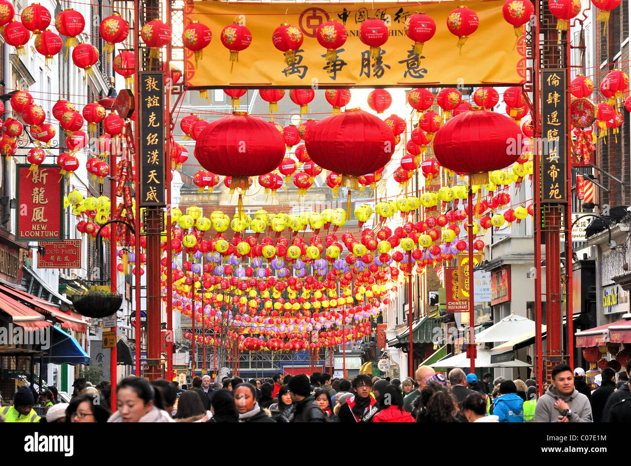 Chinatown London at Chinese new year 2011 - Stock Image