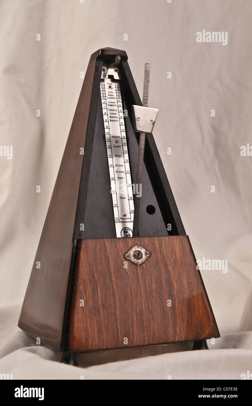 Traditional mid-20th century wooden mechanical metronome made by Pastalit, Germany, 1930s - Stock Image