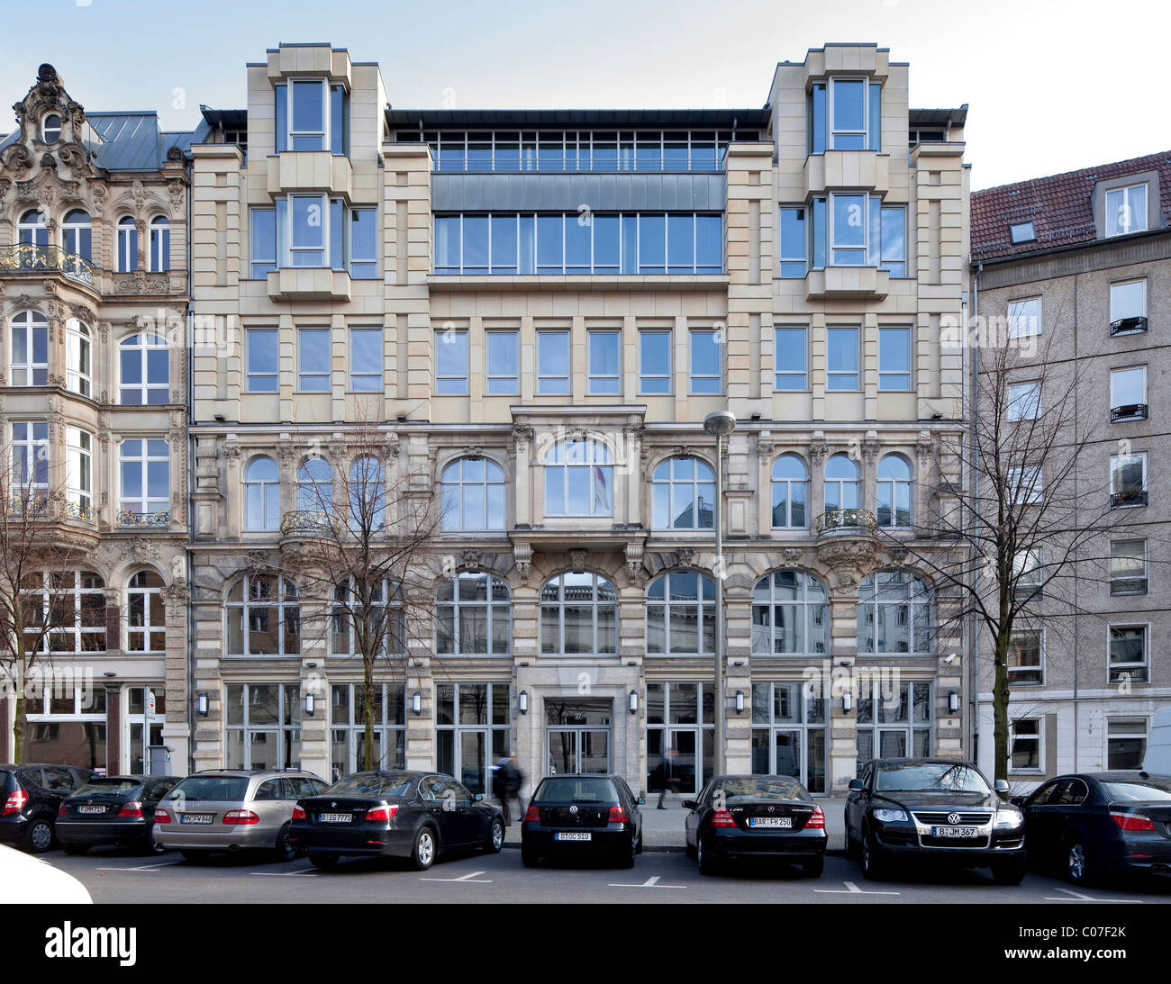 Historic office building with added storey in the Jaegerstrasse street, Mitte district, Berlin, Germany, Europe - Stock Image