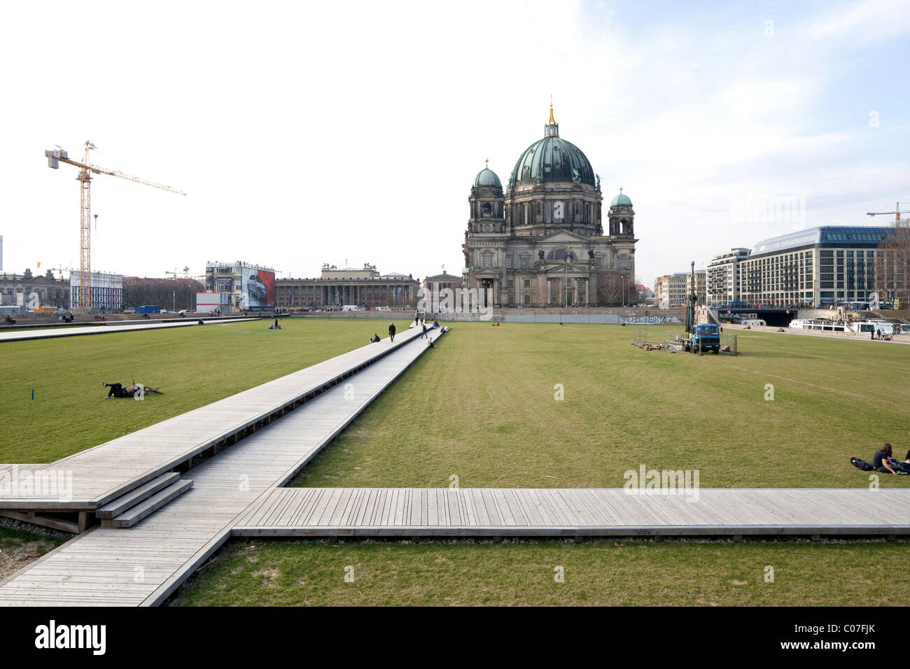Schlossplatz square, temporary use as a park, Berliner Dom cathedral in the back, Mitte district, Berlin, Germany, - Stock Image