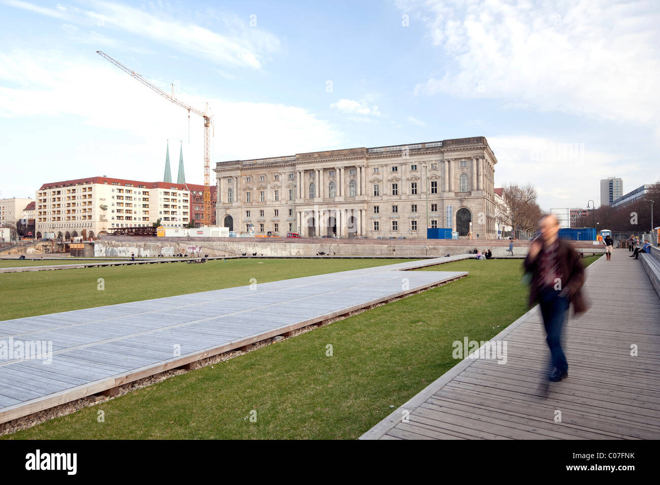 Schlossplatz square, temporary use as a park, Zentral- und Landesbibliothek Berlin library and foundation, Mitte - Stock Image