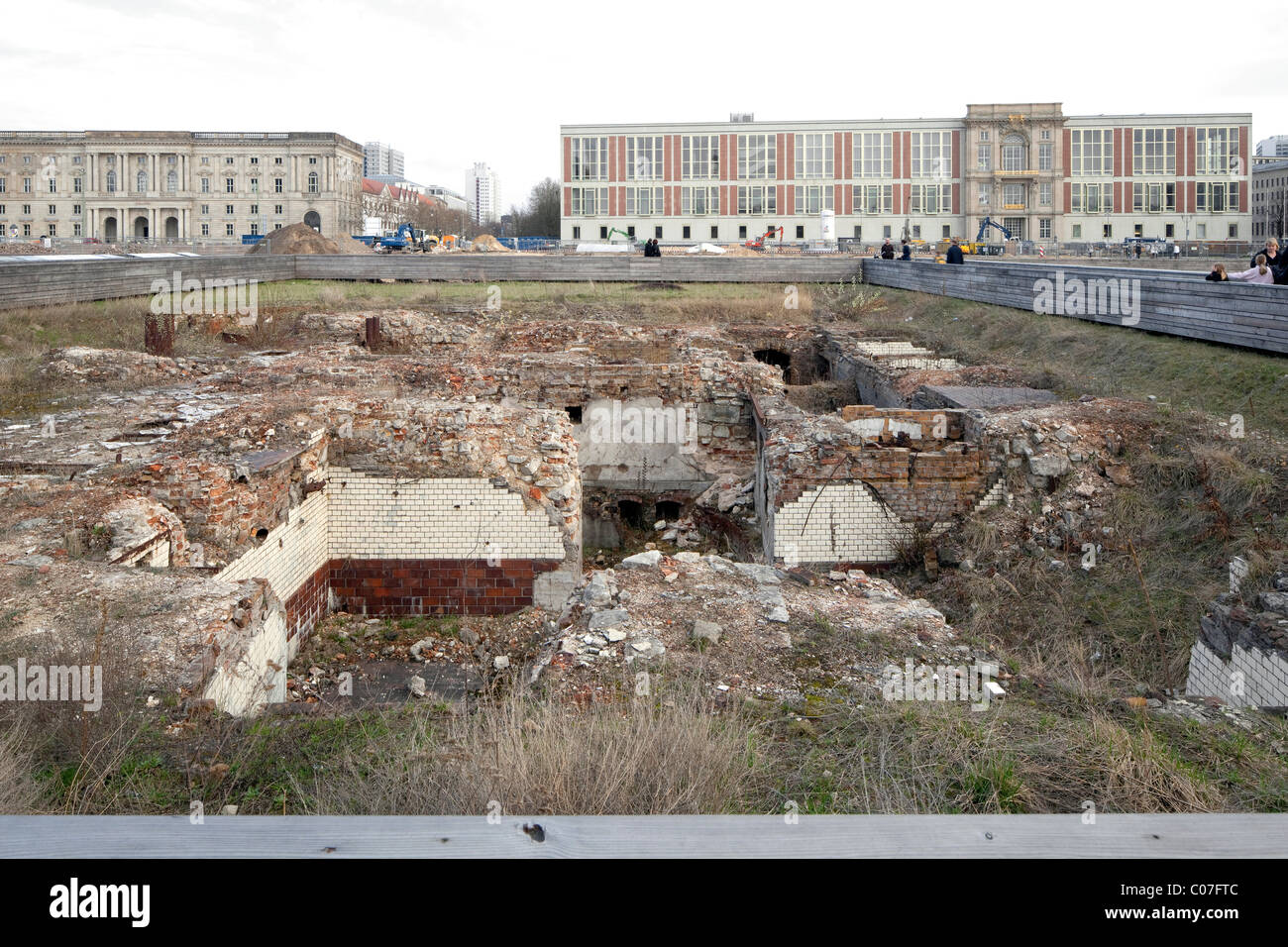 Schlossplatz square, temporary use as a park, archaeological excavations, Mitte district, Berlin, Germany, Europe - Stock Image