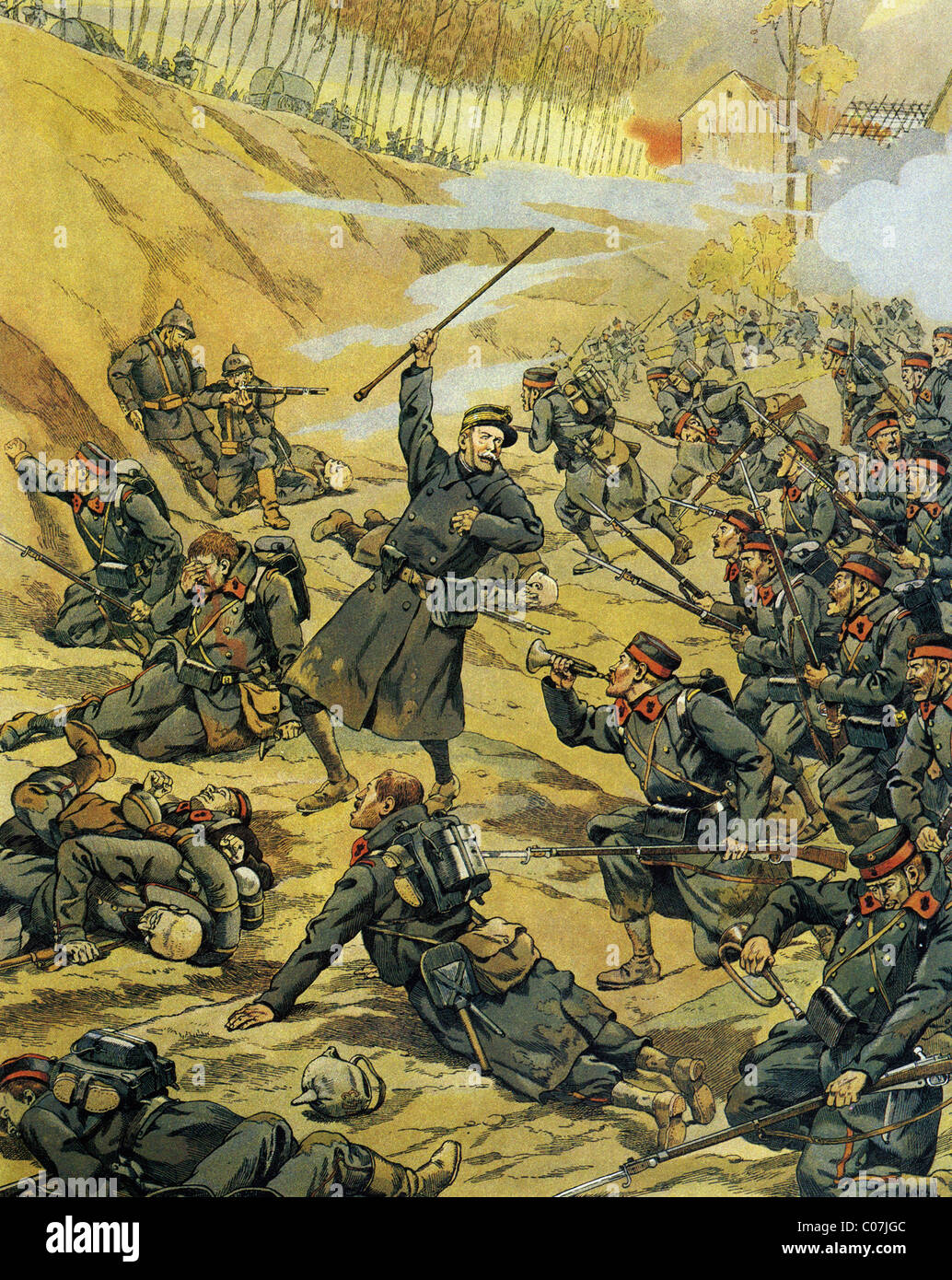 JOB (Jacques Onfroy de Breville) - French illustrator (1858 - 1931) First World War - 1914-1918 : Battle in Belgium - Stock Image