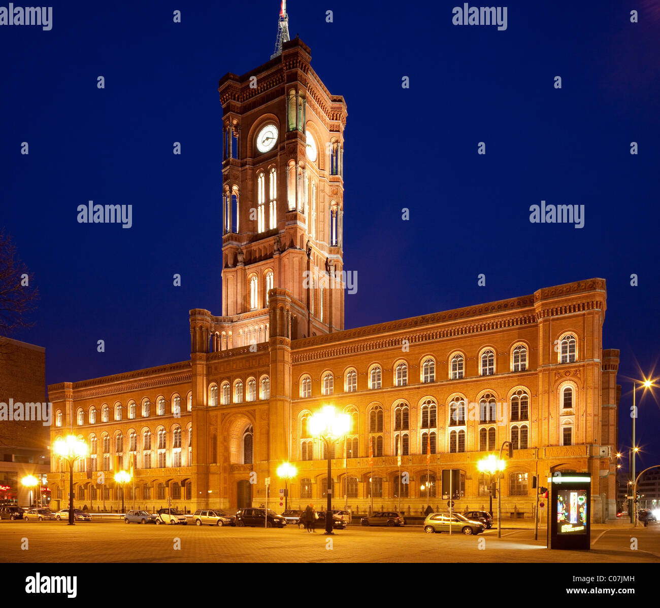 Rotes Rathaus, red town hall, Berlin-Mitte, Berlin, Germany, Europe - Stock Image
