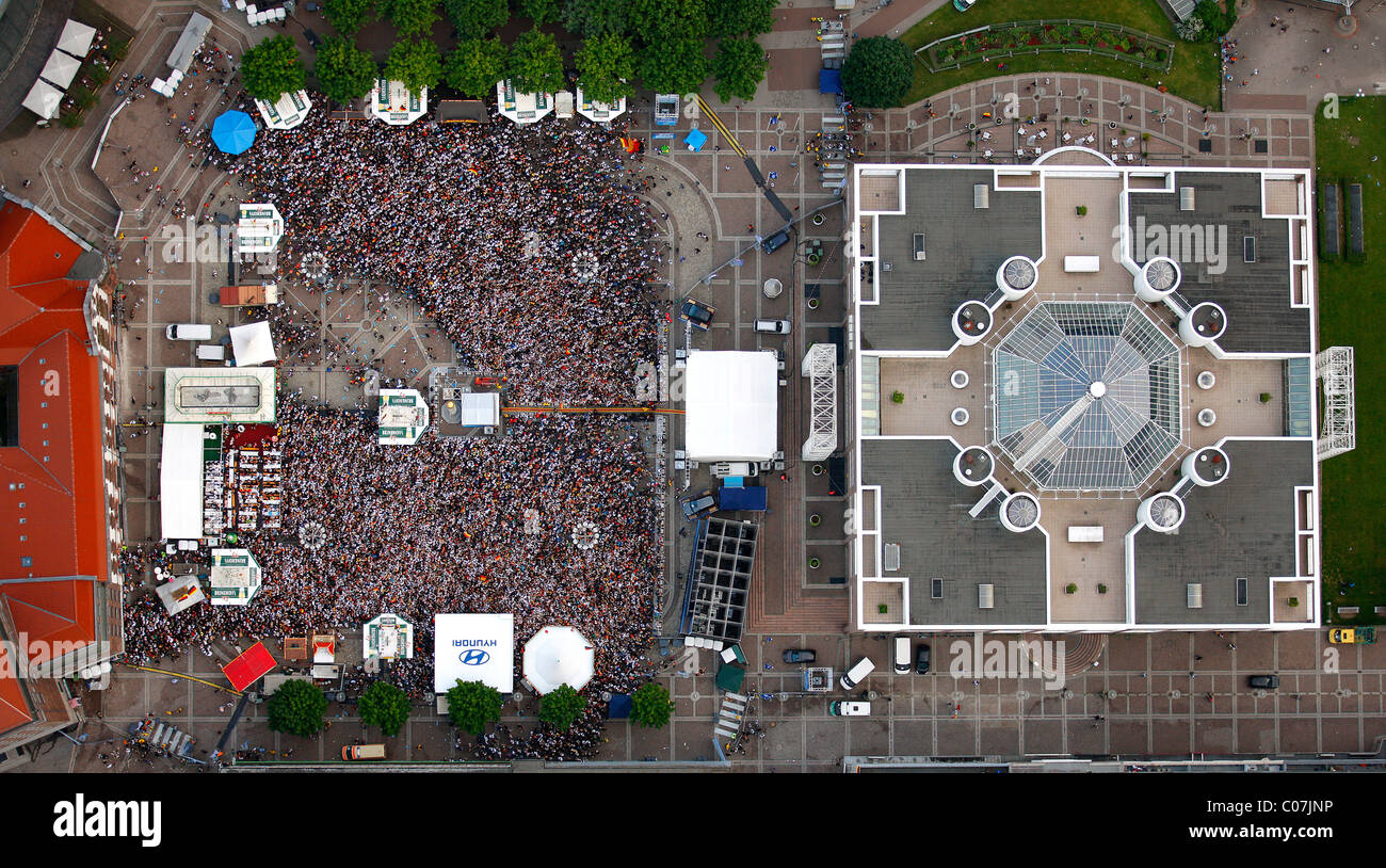 Aerial picture, public screening, Football World Cup 2010, the match Germany vs Australia 4-0, Friedensplatz square, - Stock Image