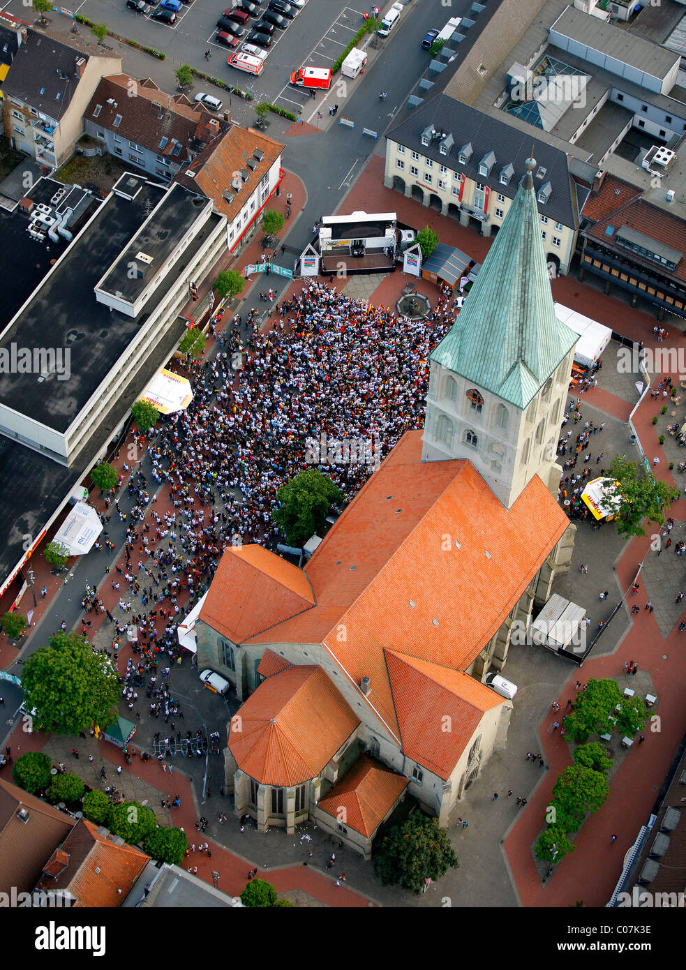 Aerial picture, public screening, Football World Cup 2010, the match Germany vs Australia 4-0 being shown in front - Stock Image