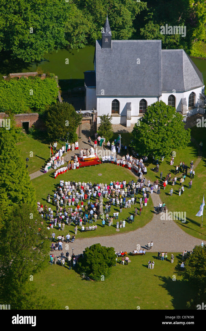 Aerial picture, open air church service on the occasion of the Feast of Corpus Christi, Herten palace gardens Stock Photo