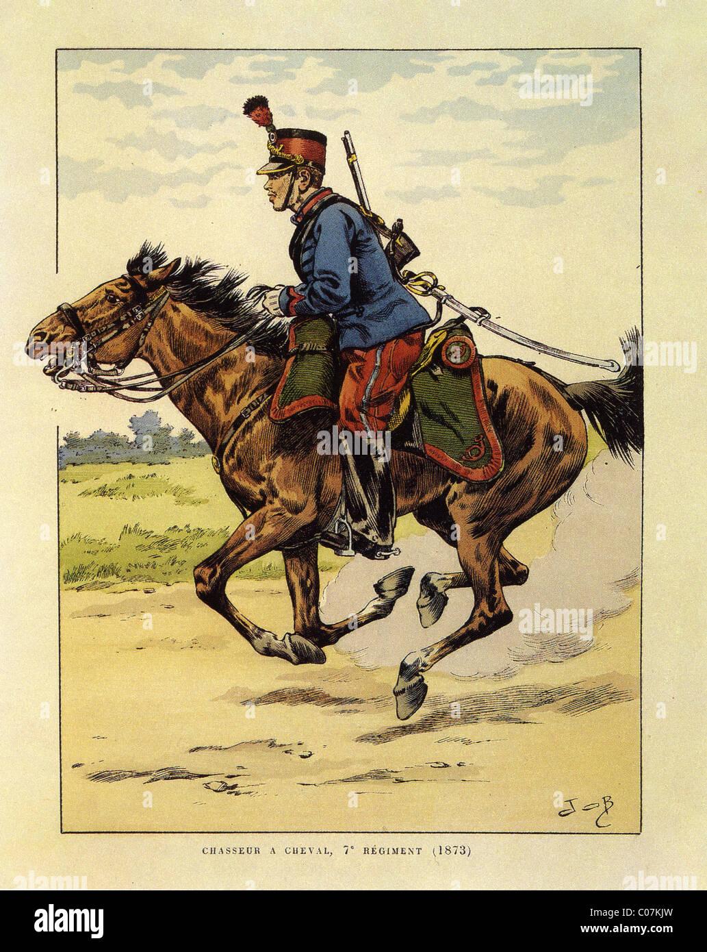 JOB (Jacques Onfroy de Breville) - French illustrator (1858 - 1931) Chasseur à cheval, 7 eme régiment - Stock Image