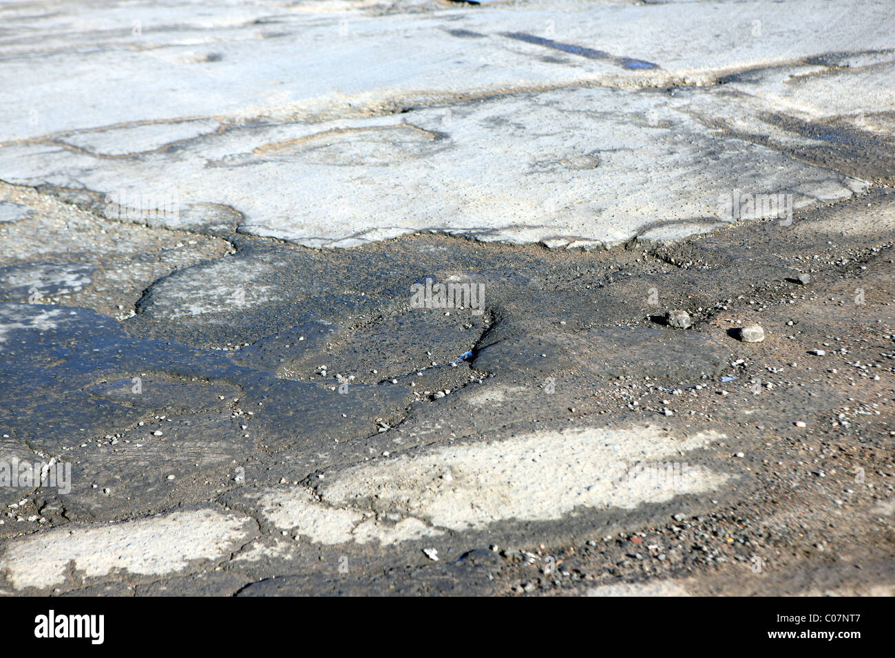 Potholes and the state of UK's roads - Stock Image