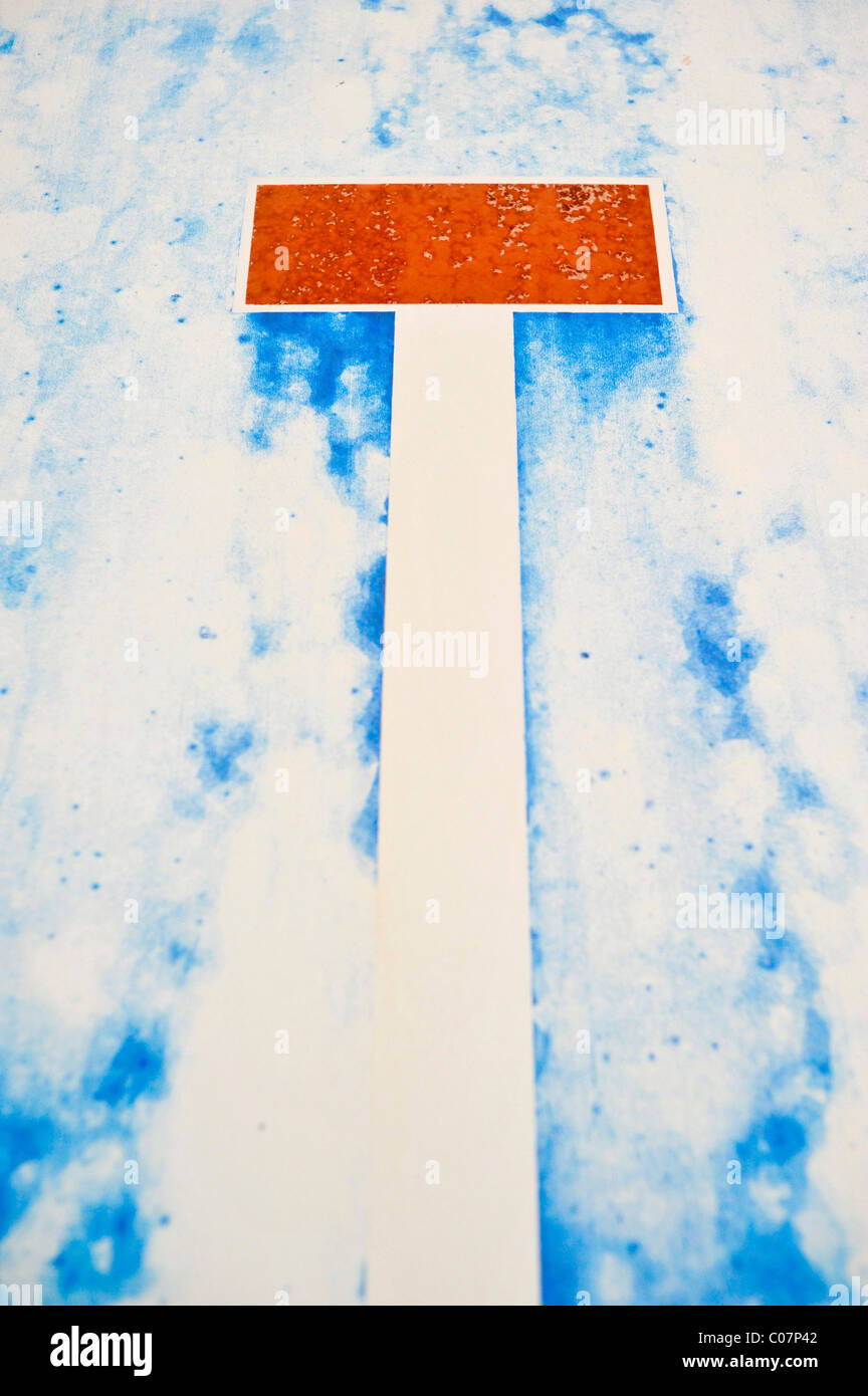 Deadlock, faded traffic sign - Stock Image