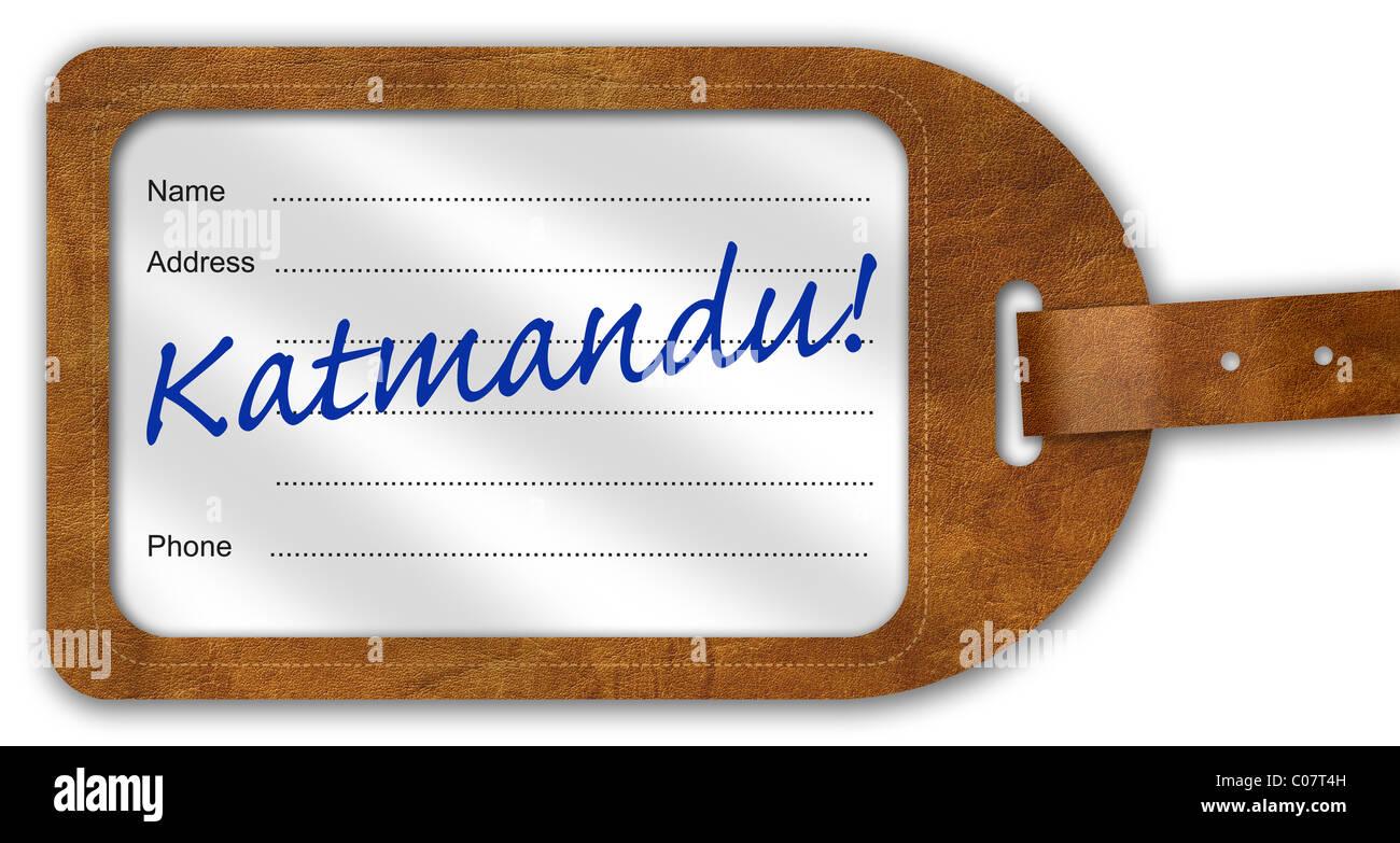 Suitcase/Luggage Label with 'Katmandu!' written on - Stock Image