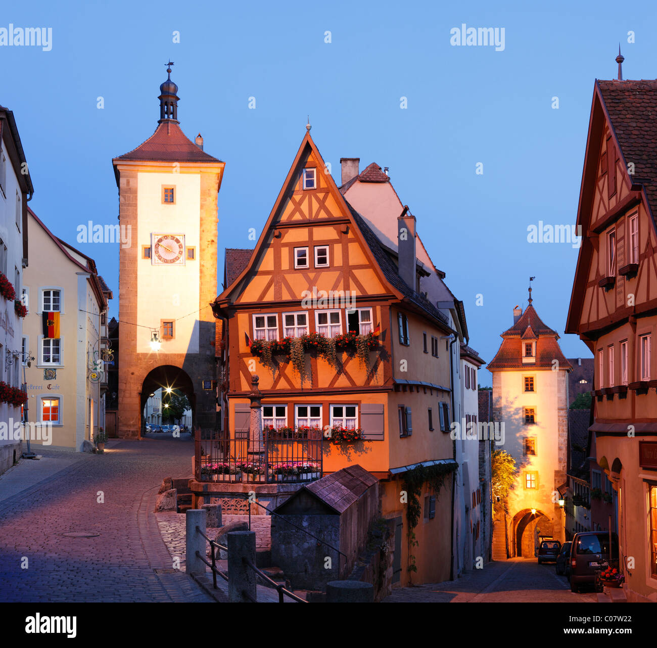 Ploenlein road junction and Siebersturm tower, Rothenburg ob der Tauber, Romantic Road, Middle Franconia, Franconia, - Stock Image