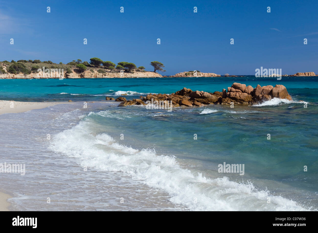 Breakers on the beach, Palombaggia, East Coast, Corsica, France, Europe - Stock Image