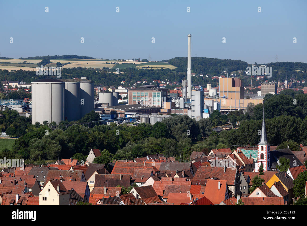 Suedzucker sugar factory in Ochsenfurt, in front Frickenhausen am Main, Mainfranken, Lower Franconia, Franconia, - Stock Image