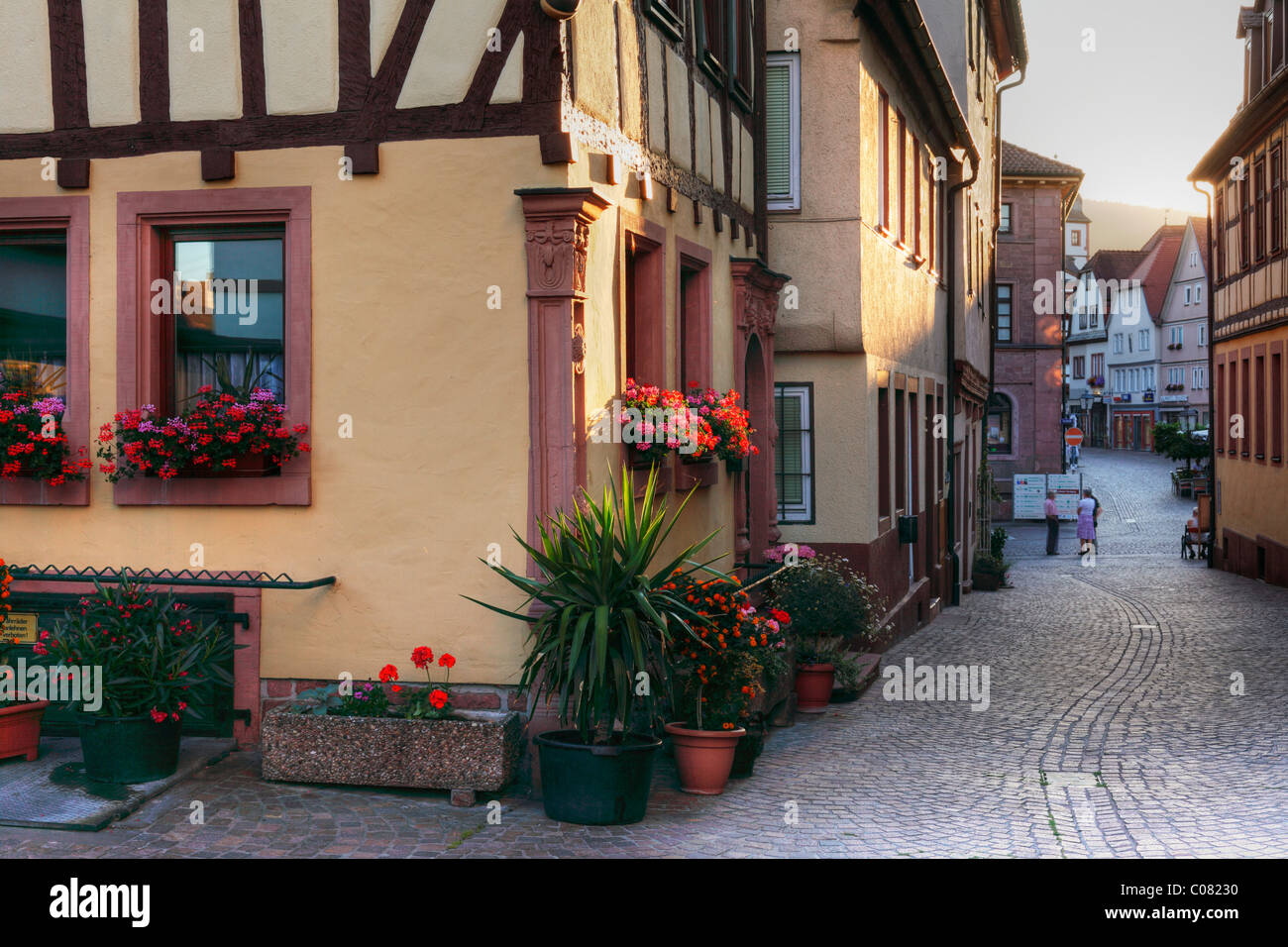 Grosse Kirchgasse lane, Lohr am Main, Mainfranken, Lower Franconia, Franconia, Bavaria, Germany, Europe - Stock Image