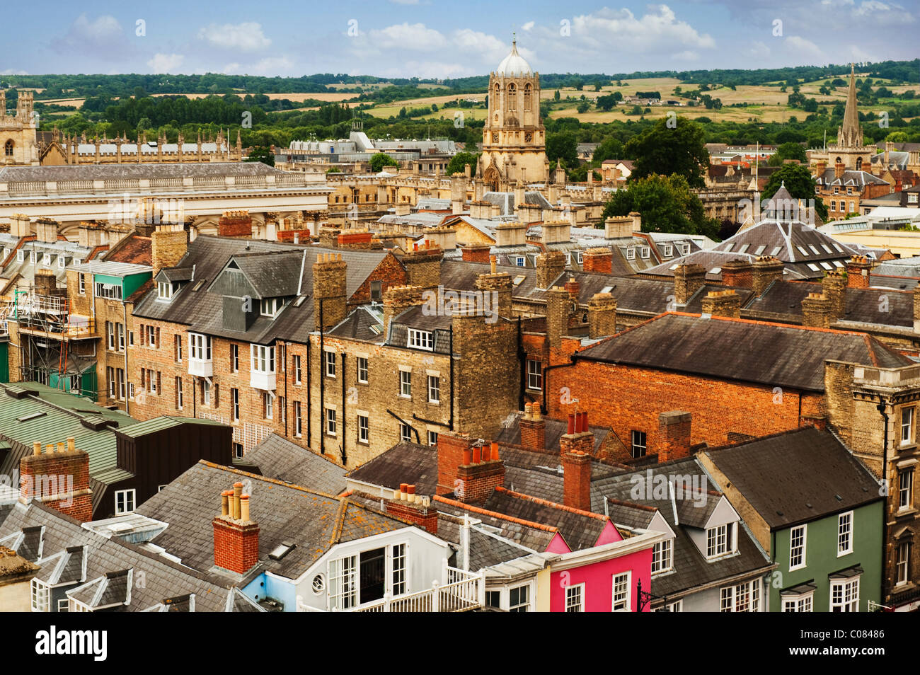 High angle view of buildings in a city, Oxford, Oxfordshire, England - Stock Image