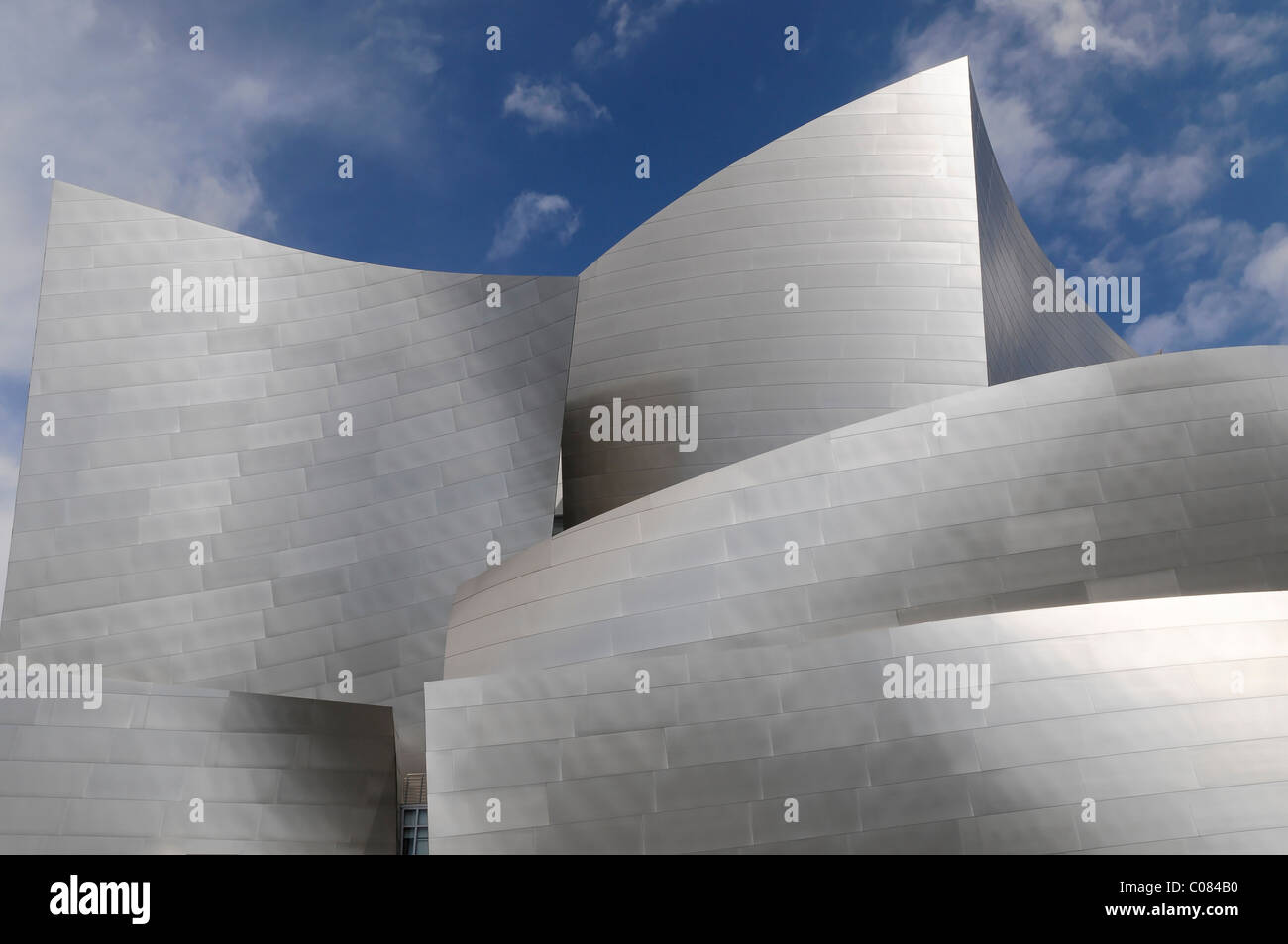 Partial view, Walt Disney Concert Hall by Frank Gehry, Los Angeles, California, USA - Stock Image
