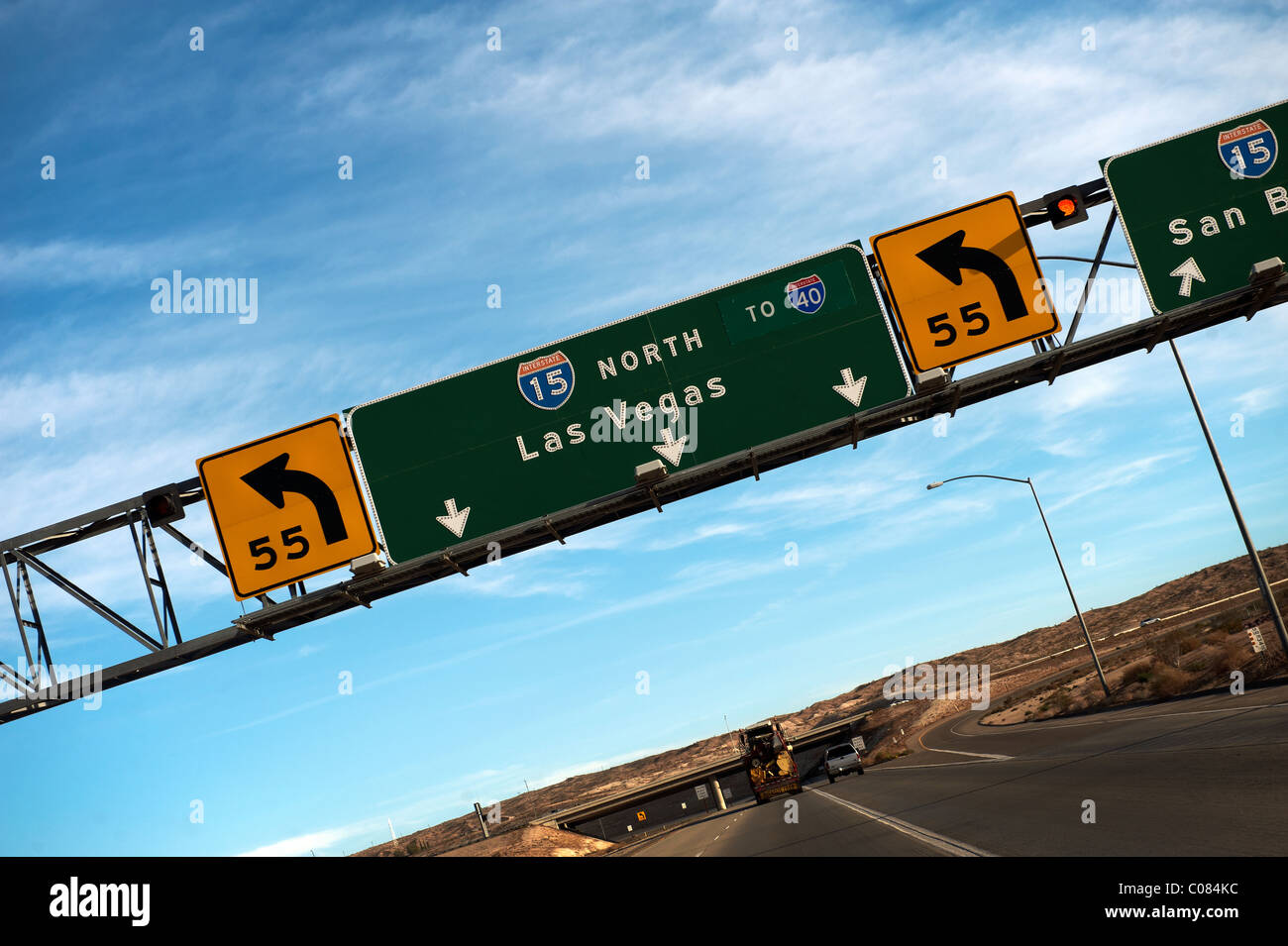 A Road Sign For Las Vegas On The 15 Freeway In California Usa