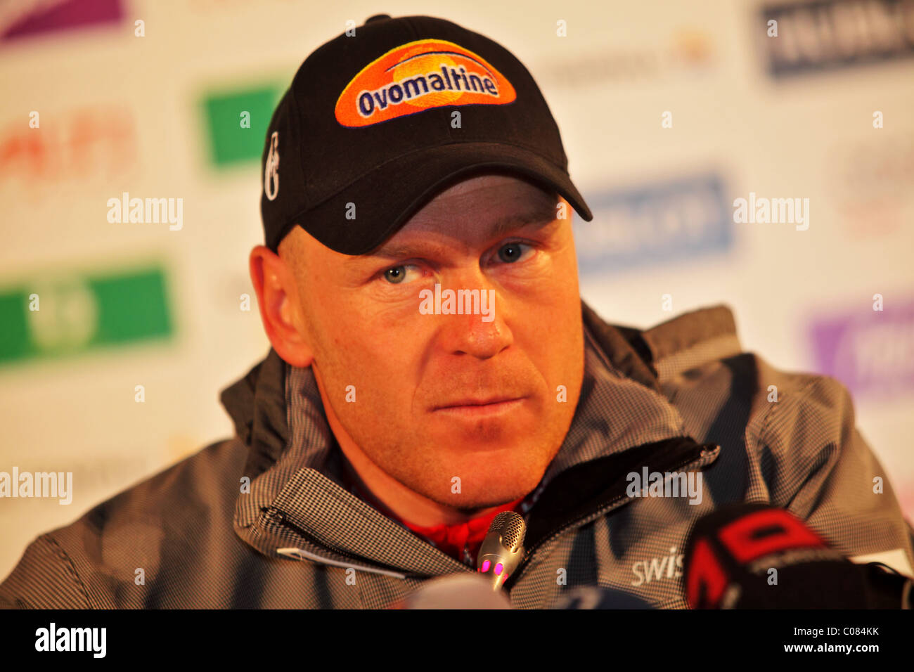 Didier Cuche (silver) at the FIS Alpine World Ski Championships 2011 winners press conference - Stock Image
