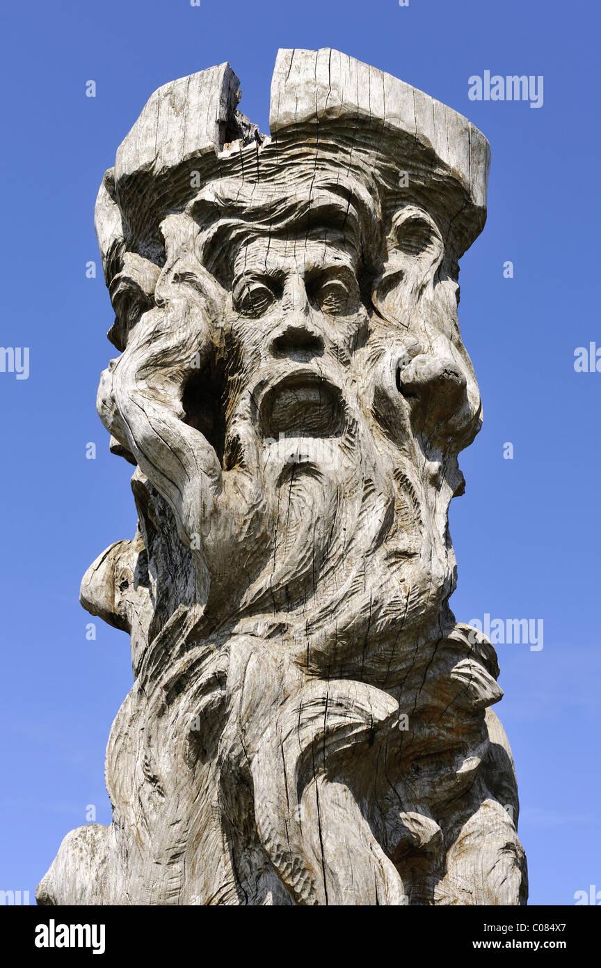 Image of the Slavic peace god Borevit, Baroviet or Porevit, wood carving, Cape Arkona, Ruegen Island Stock Photo