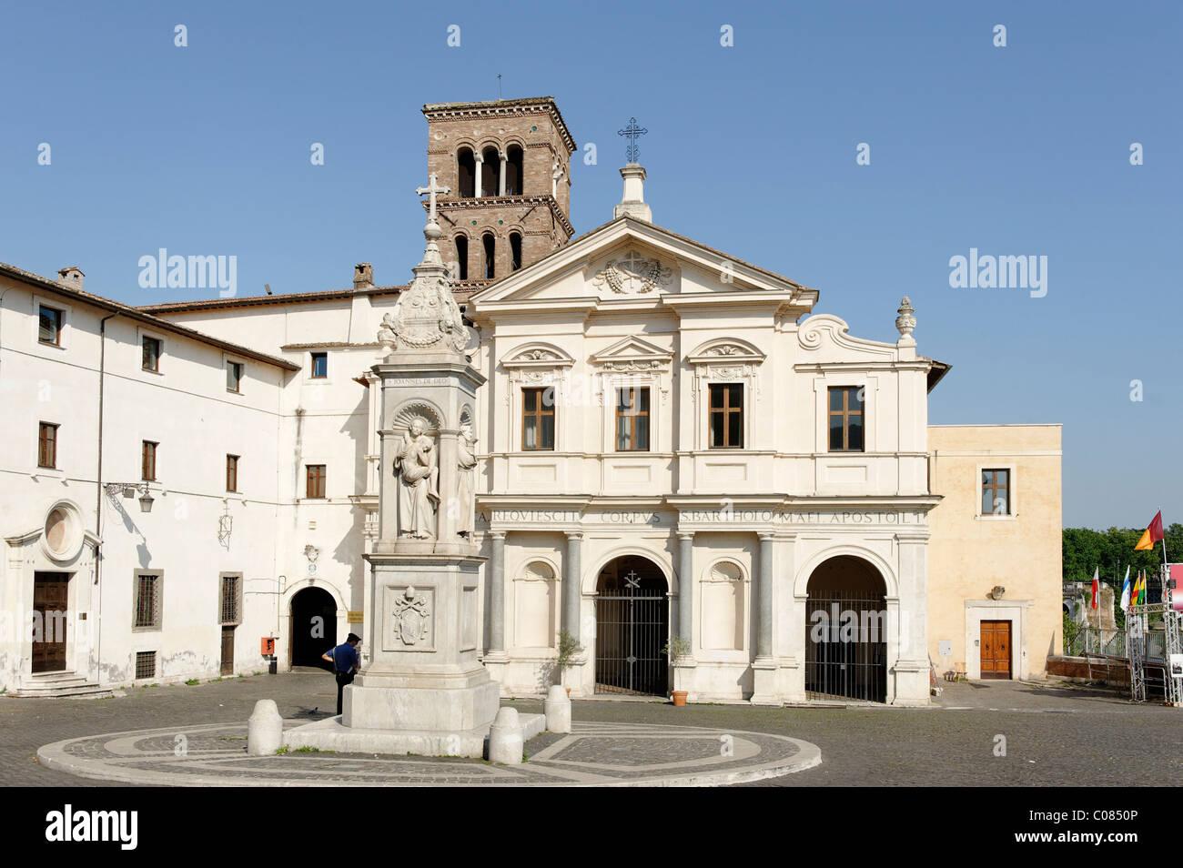 Tiber island, Isola Tiberina, San Bartolomeo all'Isola church, Rome, Italy, Europe Stock Photo
