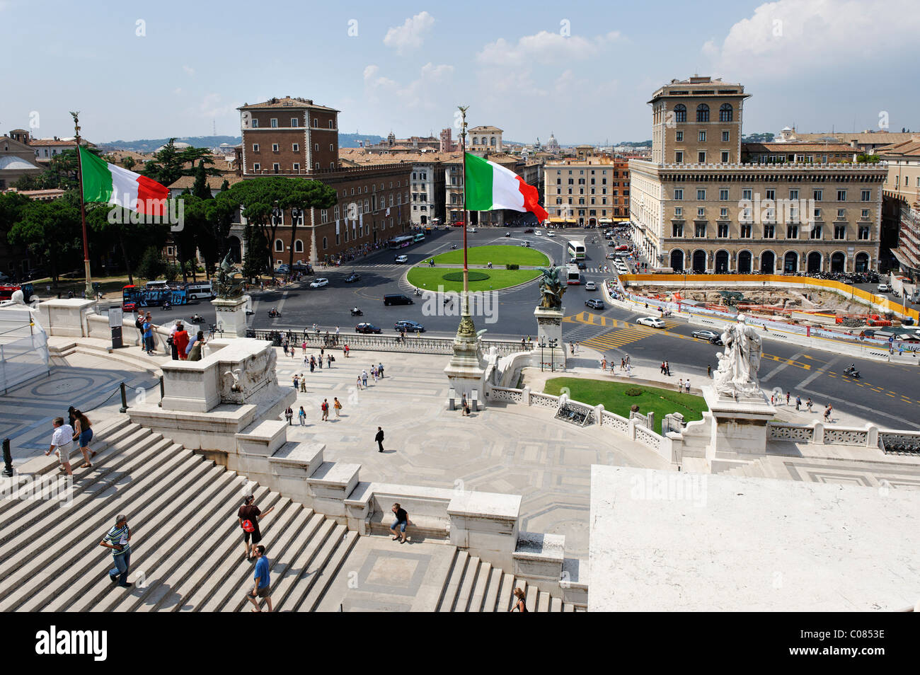 View from the monument of Vittorio Emanuele to Piazza Venezia, Il Vittoriano, Rome, Italy, Europe - Stock Image