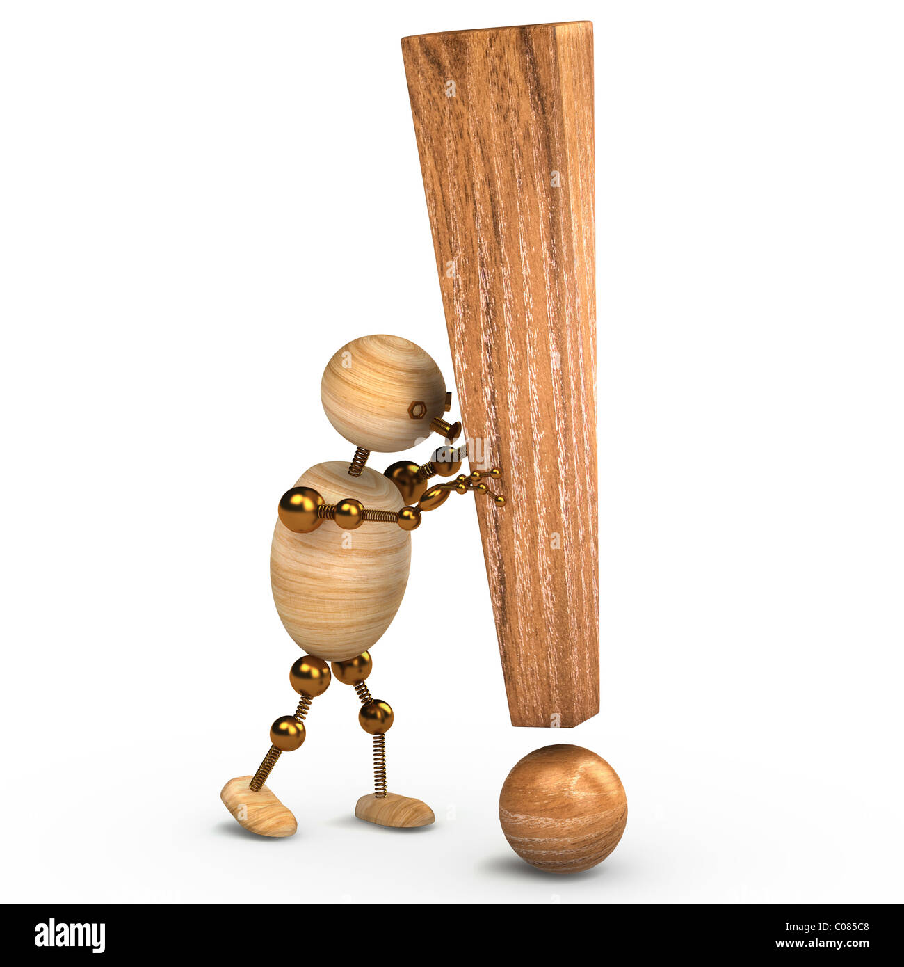 wood man with a exclamation mark 3d rendered - Stock Image