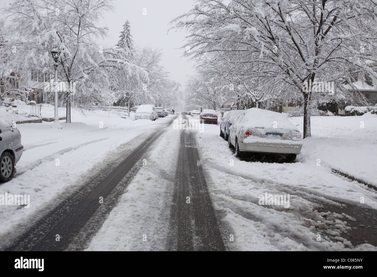 Tire tracks left by cars in a residential area after an early winter storm - Stock Image