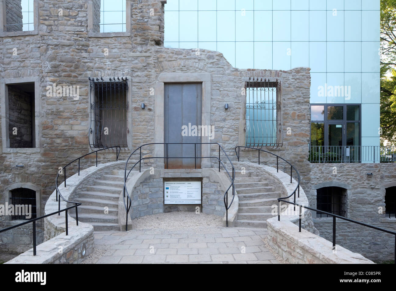 Haus Weitmar and new museum building, Situation Kunst art exhibition, castle ruins, Bochum, Ruhrgebiet region - Stock Image