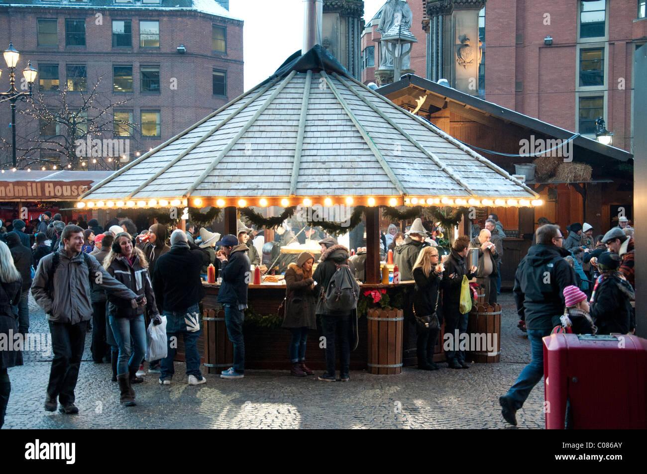 The Christmas Markets at Albert Square Manchester England November December 2010 - Stock Image